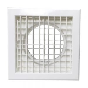 Plastic Double Deflection Square Air Grille with round adaptor